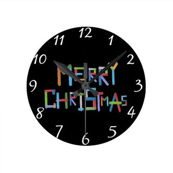 Merry Christmas Round Clock