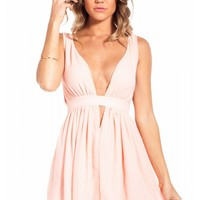 Heaven dress in peach with deep v neckline & flared bottom | SHOWPO Fashion Online Shopping