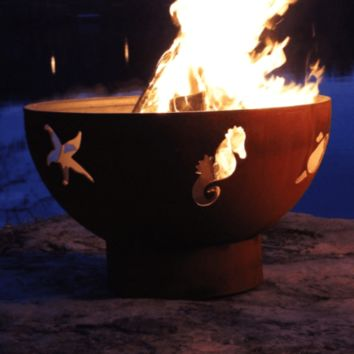 """Sea Creatures 36"""" Steel Fire Pit by Fire Pit Art"""