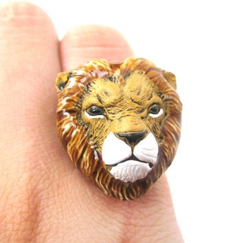 Lion Head Shaped Porcelain Ceramic Adjustable Animal Ring | Handmade