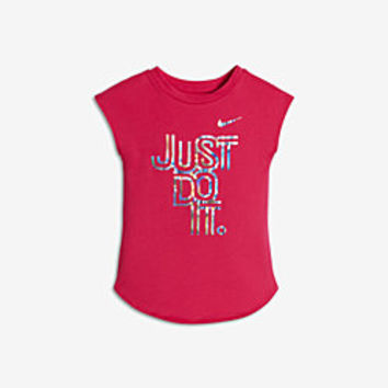 The Nike Iridescent Just Do It Infant/Toddler Girls' Short Sleeve T-Shirt.