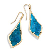 Kendra Scott - Limited Winter Seasonal - Olivia Aqua Apatite Brushed Silver Drop Earring