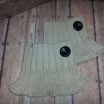 Tan Recycled Sweater Boot Cuffs, Upcycled Boot Cuffs,Neutral boot cuff,  beige Boot cuff, Boot Sock, boot cuff with button