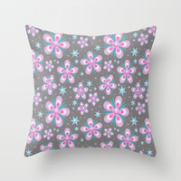 Seamless Floral Flower Pattern Throw Pillow by WonderfulDreamPicture