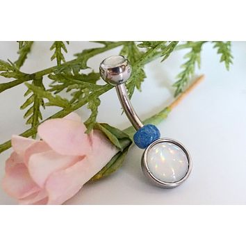 Illuminating Glowing Clear Round Belly Button Ring