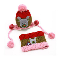 Lovely Infant Baby Winter Warm Knitting Cap Hat Scarf Baby Beanie Brown Pink