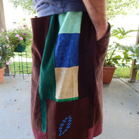 Grateful Dead Earthy SYF Corduroy Mens Shorts Festival Shorts Hippie Patchwork Straight Leg Shorts Guys Shorts menswear ooak shorts Big Mens