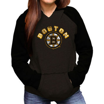 Original Retro Brand Boston Bruins Ladies Relaxed Pullover Hoodie - Black