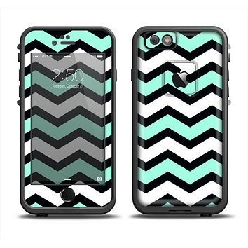 The Teal & Black Wide Chevron Pattern Apple iPhone 6 LifeProof Fre Case Skin Set