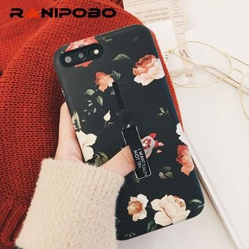 Retro Classical Plants Flowers Phone Case For iphone 6 Case For iphone 6 6S 7 8 Plus X Cartoon Cover Cases Holder Protectors