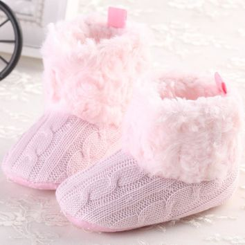 Baby Shoes Infants Crochet Knit Fleece Boots Toddler Girl Boy Wool Snow Boot Crib Shoes Winter Booties