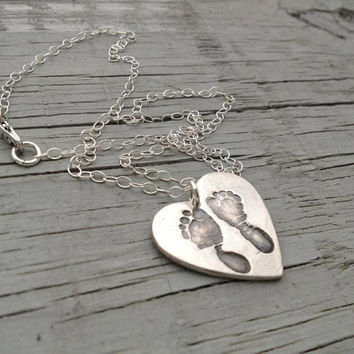 Your CHILDS actual Foot Prints--Largest Heart--Fine Silver Keepsake Necklace