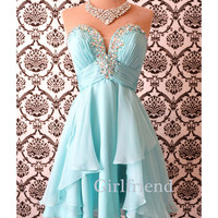 Elegant light blue chiffon handmade strapless short beaded prom dress, bridesmaid dress, party dress with sequins
