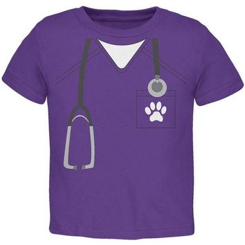 VONE05Y Halloween Vet Veterinarian Scrubs Costume Toddler T Shirt