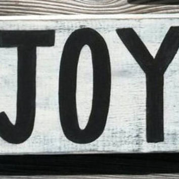 Joy Christmas Distressed Reclaimed Wood Hand Painted Sign