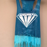 Diamond Blue Dip Dyed Fringe Tank Top with Beads