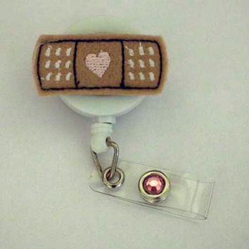 Bandaid Heart - Name Badge Holder - Nurses Badge Holder - Cute Badge Reels - Unique Retractable ID Badge Holder - Felt Badge - RN Badge Reel