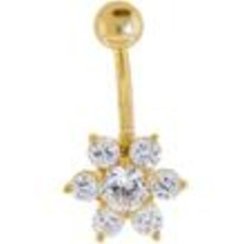 Solid 14KT Yellow Gold CZ Flower Belly Ring