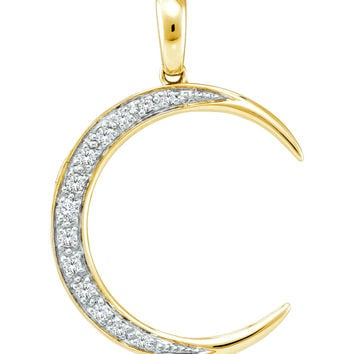 14kt Yellow Gold Womens Round Diamond Crescent Moon Pendant 1/6 Cttw 39090