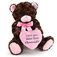 Plush Brown Bear With Pink Heart