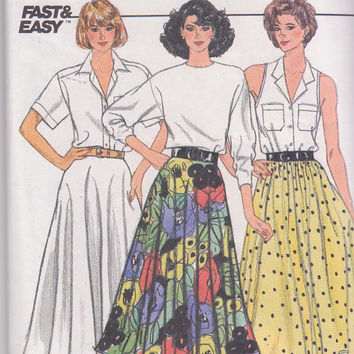 Vintage 1980s pattern for mid-calf length circle skirt with fitted or elasticized waistband misses size 14 16 18 Butterick 3828 UNCUT