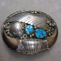 NAVAJO GILBERT G. ADEKY STERLING SILVER  Turquoise Faux Claw Belt Buckle