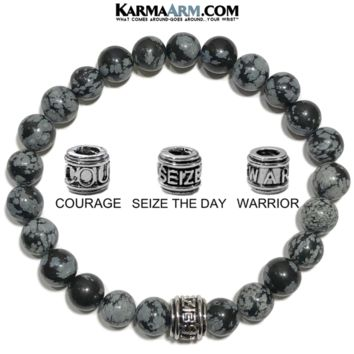 Mantra Motivation Bracelet | Snowflake Obsidian | COURAGE | SEIZE THE DAY | WARRIOR Jewelry