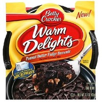 Betty Crocker Warm Delights, Peanut Butter Fudge Brownies, 3.3-Ounce Packages (Pack of 8)