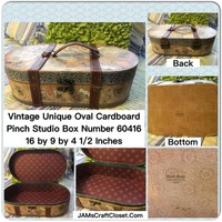 Box Vintage Oval Cardboard Pinch Studio With Latch and Imitation Leather Straps and Handle