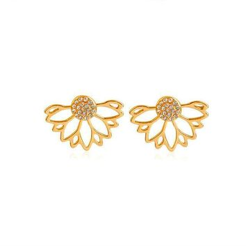 New Crystal Front Back Flower Lotus Stud Earrings For Women