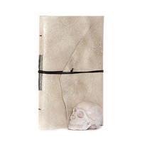 Recycled leather journal notebook diary big book cahier chapbook blank pages eco paper - rustic beige ecru grey reptile skin like