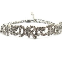 Rhinestone One Direction Infinity Directioner Bracelet w/ 4mm Link Chain XB286R: Jewelry