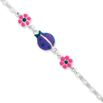 925 Sterling Silver 6 Inch Enamel Ladybug and Flowers Girls Bracelet