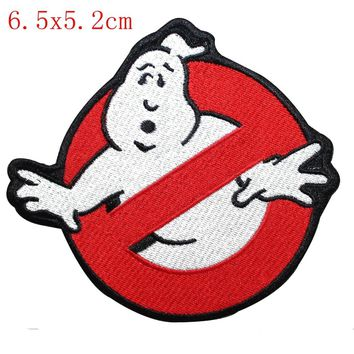 Smaller Ghostbusters No Ghost Sign Logo Embroidered Iron On Applique Patch Clothing Accessories Craft Kids Clothing Bag Deco