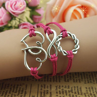 NT0079 8 characters circle Leather Bracelet