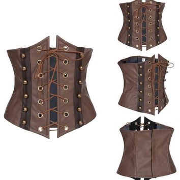 Vocole Sexy Women Gothic Faux Leather Steampunk Corset Front Lace up Bustier Corselet Underbust Waist Cincher S-XXL