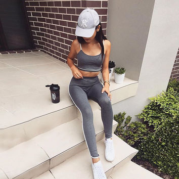 Hot Sale Summer Women's Fashion Vest Fitness Workout Set Sportswear Set [11735841359]