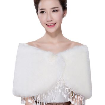 In Stock Wedding Accessory Faux Fur Black White Custom Made Bridal Coat Wedding Bolero Stoles Jacket Shrug Wraps LF49
