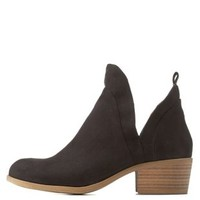 Black Cut-Out Ankle Booties by Charlotte Russe