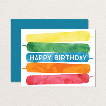Printable Birthday Card / Colorful Rainbow Birthday Candles / Kids Birthday Card / A2 Happy Birthday / Birthday Candles Card