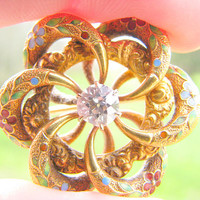 Antique Enamel Diamond Brooch Pin, Old European Cut Diamond, approx .55 ct, Gorgeous Details, Enamel Flower Blossoms, Excellent Condition