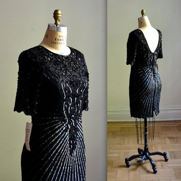 Vintage 90s Black Sequin Dress, Size 6 NWT