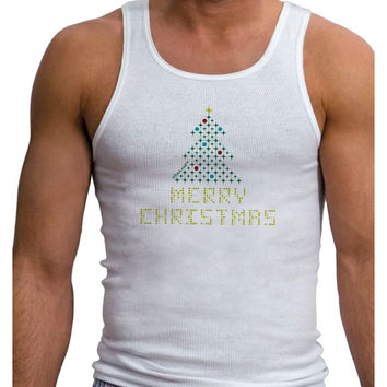 Merry Christmas Sparkles Mens Ribbed Tank Top
