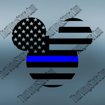 Mickey Back the Blue Flag Thin Blue Line Vinyl Decal | Disney Yeti Cop Decal | Distressed Disney American Flag | Blue Lives Matter | 402