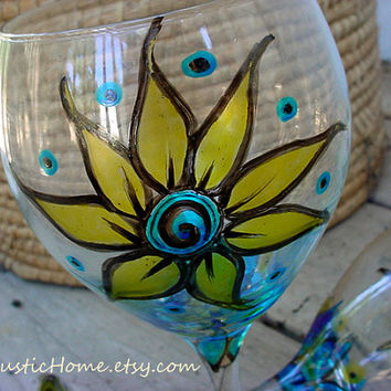 Set of two sunflower summer wine glasses goblets choose your colors