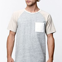 On The Byas Drake Raglan Pocket Crew T-Shirt - Mens Tee - Gray