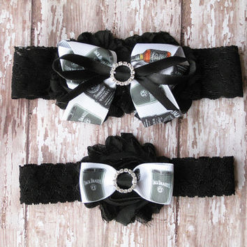 Jack Daniels Garter Set...Jack Daniels Whiskey Wedding Garters...Bridal Garter and Toss Garter
