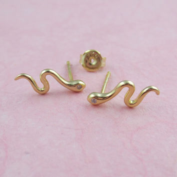 Snake Post Earrings/Sterling Silver/Gold Vermeil and Cubic Zirconia/Serpent Studs/Minimalist Snake Posts/Mythological/High Polish/Small Stud
