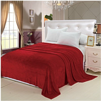 "Soft Touch Full/Queen Size (86"" x 86"") Solid Color Micro-Fleece Blanket - Red"