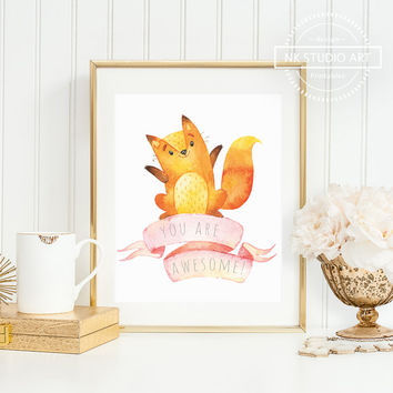 Woodland Nursery Decor | Childrens Wall Art | Baby Fox | You're Awesome